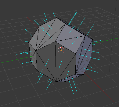 Blender screenshot of consistent normals pointing outwards.