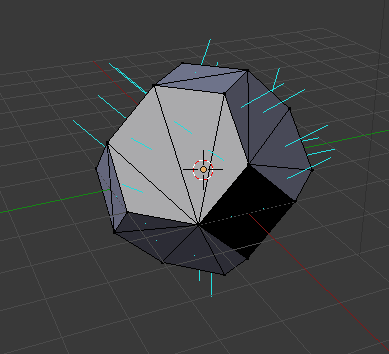 Blender screenshot showing that normals are not yet consistently pointing outwards.