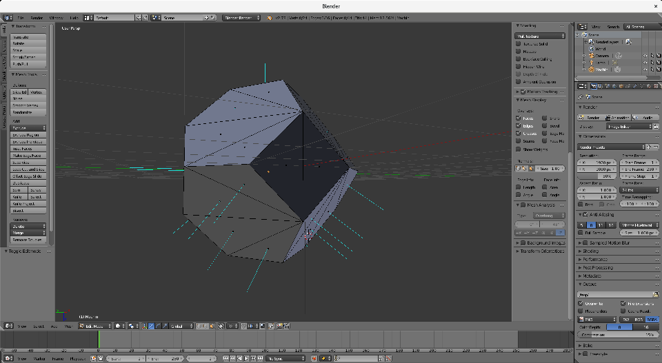 Blender screenshot showing inconsistent normals on the exported stl.